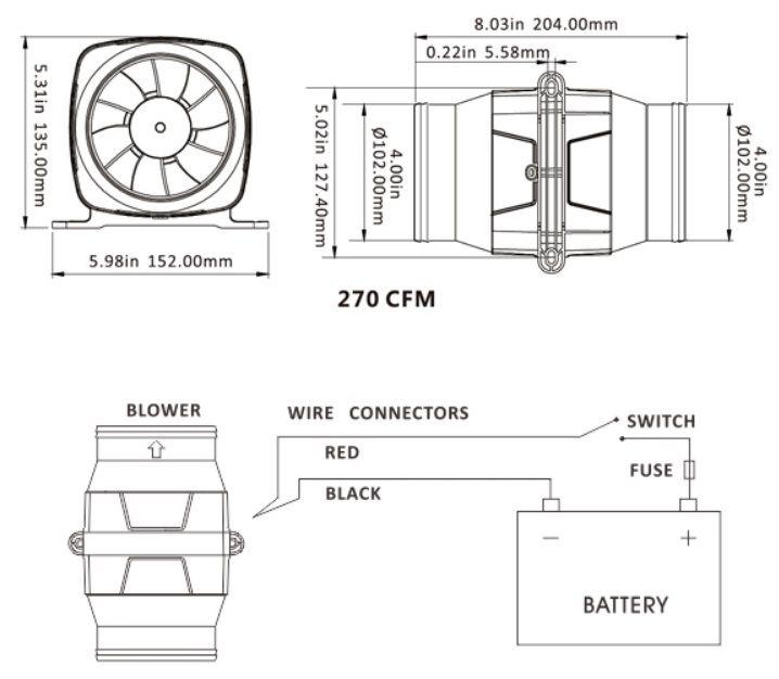 """Exaustor (Blower) de Ventilação Náutico 4"""" Horizontal 270 CFM 12V Linear"""
