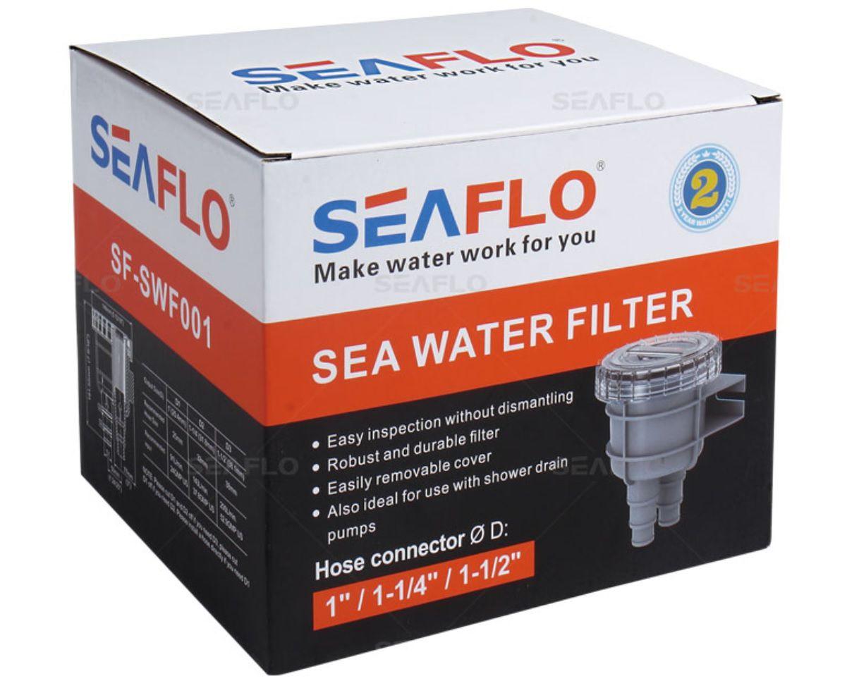 Filtro de Água p/ Entrada de Bomba de Água Doce ou Salgada 192x148mm Seaflo SF-SWF001 p/ Barcos