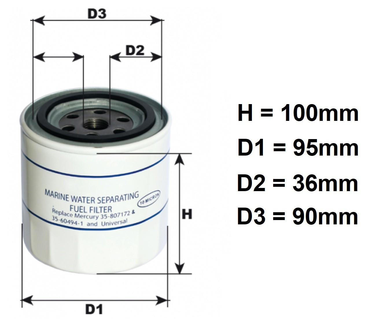 Filtro de Combustível Decantador Separador de Água e Gasolina 10 Micron para Motores Mercury