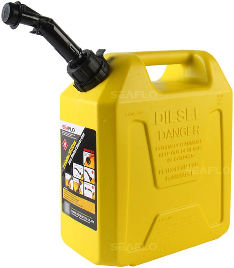Galão de Combustível Diesel Seaflo 10 Litros Amarelo com Bico para Controle