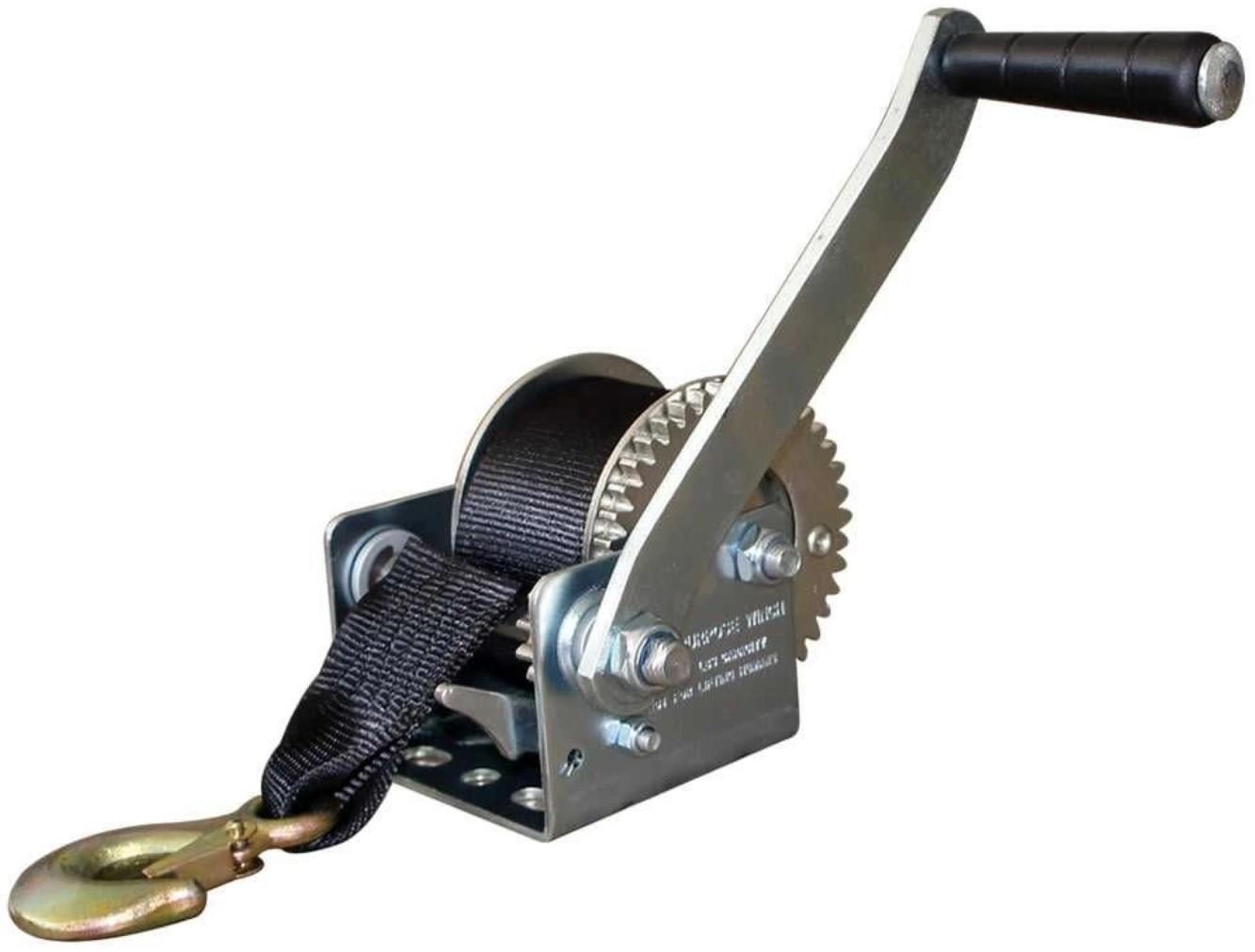 Guincho Manual Catraca 800 lb para Carreta de Barcos ou Jet Ski 544kg com Fita em Nylon