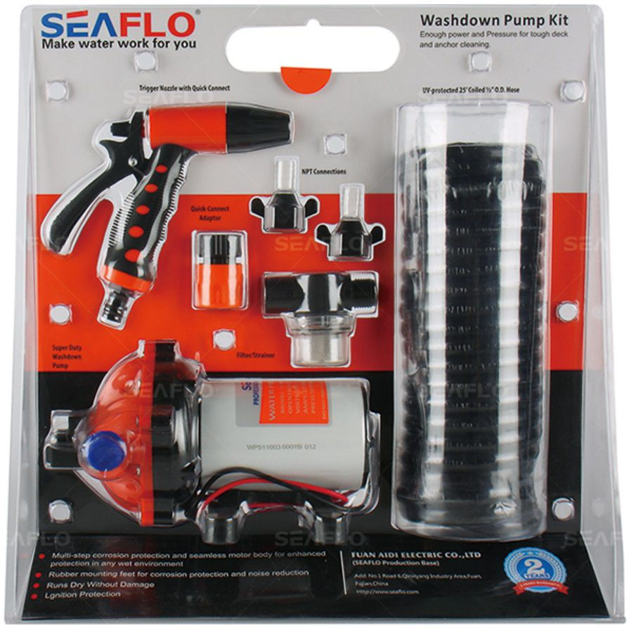 Kit de Lavagem Completo Seaflo c/ Bomba Pressurizadora 5.0 GPM 12V 70 PSI + Mangueira + Gatilho + Filtro + Conectores
