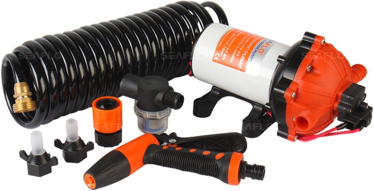Kit de Lavagem Completo Seaflo com Bomba Pressurizadora 5.5 GPM 12V 70 PSI + Mangueira + Gatilho + Filtro + Conectores