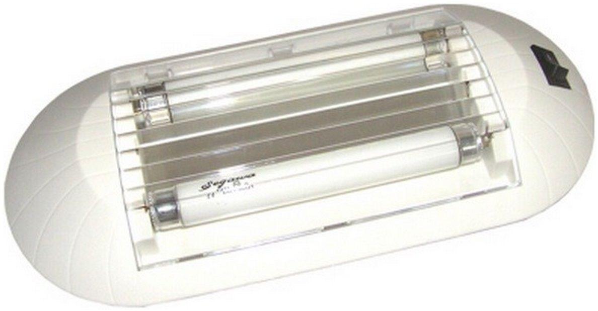 Luminária de Interior Fluorescente 2 Lâmpadas 4W 12V Branca, para Barcos, Lanchas e Veleiros