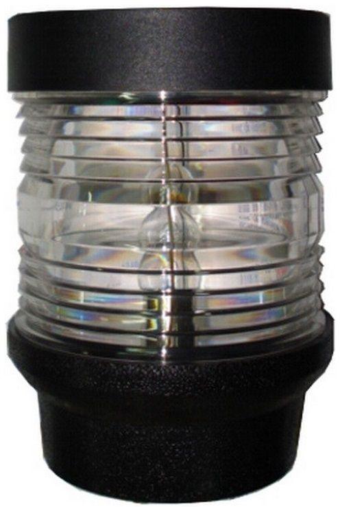 Luz de Navegação Branca de Top de Fundeio (ou de Popa) 12V Plástico ABS Preto Visibilidade 2 Milhas