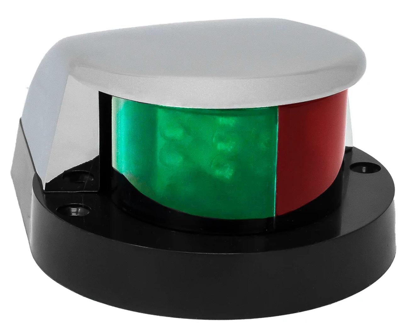 Luz de Navegação de Proa Bicolor Bombordo e Boreste BB/BE com Acabamento em ABS Branco 12V