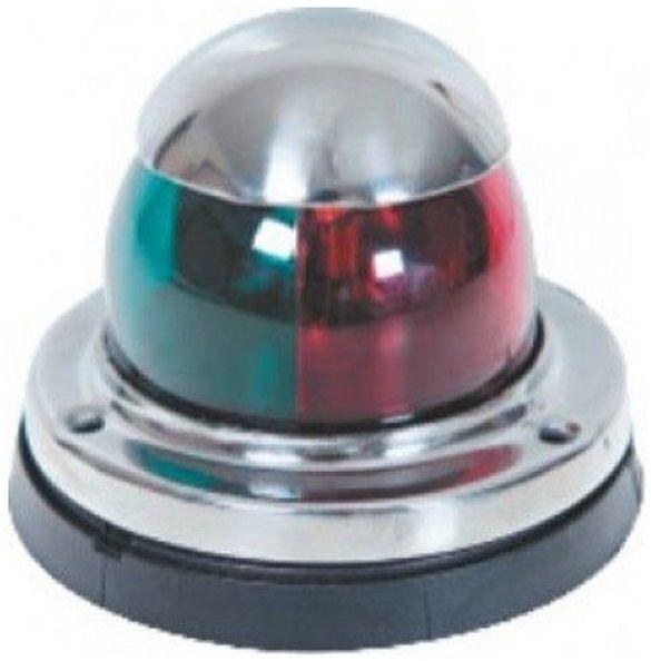 Luz de Navegação de Proa Bicolor Bombordo e Boreste BB/BE em Aço Inox de Sobrepor 12V Base em ABS