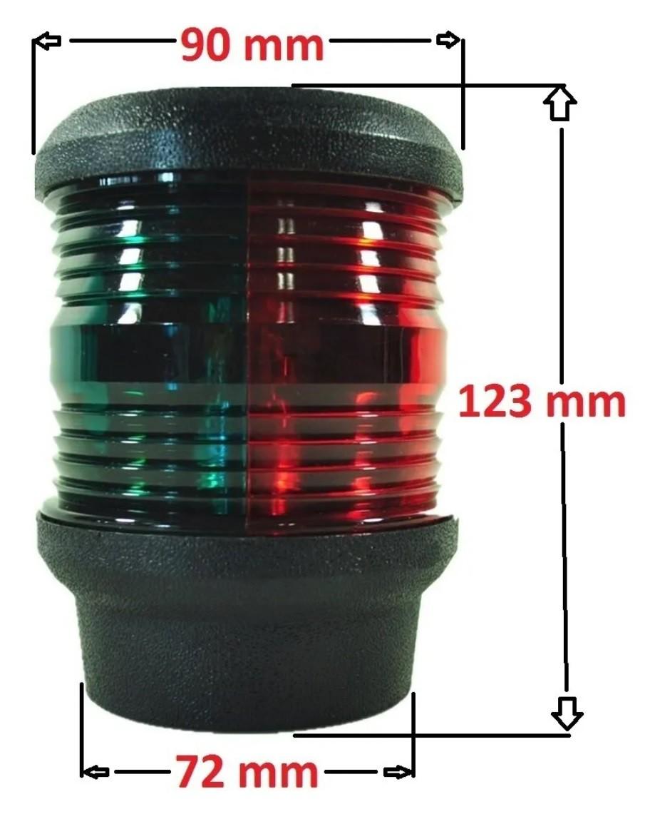 Luz de Navegação de Top em LED Bicolor 360 graus Bombordo Vermelho e Boreste Verde 12V