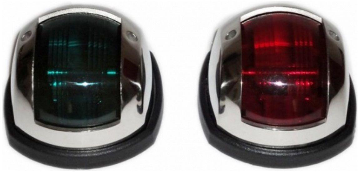Luz de Navegação em LED Bombordo Boreste BB/BE em Inox para Proa Externa ou Targa com Base em ABS Preto (Par)