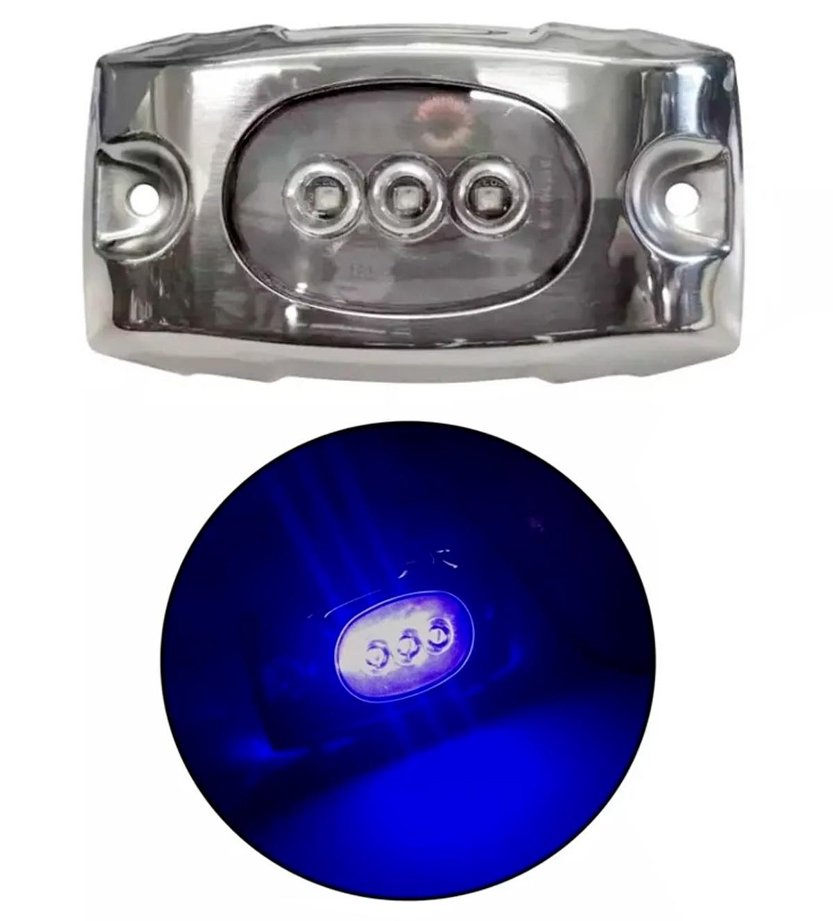 Luz Subaquática em LED Azul 12V / 24V IP68 com Acabamento em Inox para Barcos Lanchas Piscinas Fontes