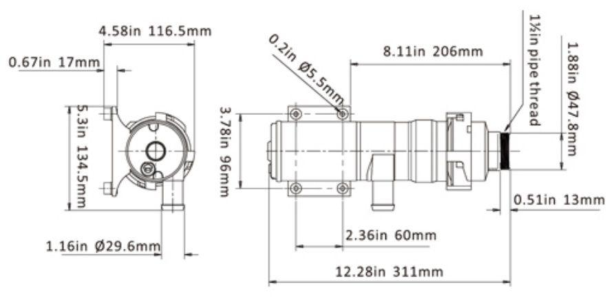 Macerador de Resíduos Seaflo para Vaso Sanitário (Caixa Séptica) 12V 12 GPM Série 02