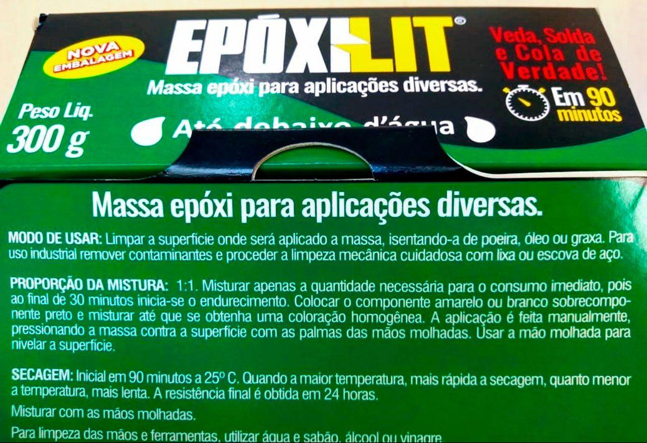 Massa Epóxi Adesiva Subaquática Verde Epoxilit Cola Tudo Componente A + B 300g Uso Náutico e Geral