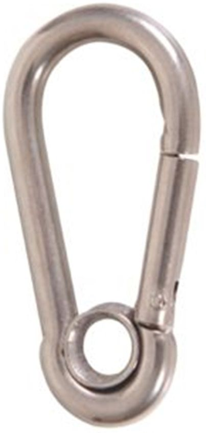 Mosquetão de Engate Rápido com Olhal em Aço INOX 5mm de Espessura 5mm x 50mm DIN 5299