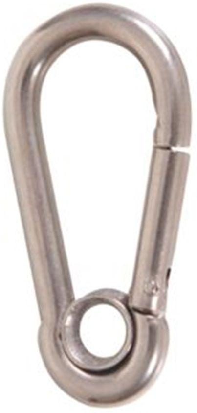 Mosquetão de Engate Rápido com Olhal em Aço INOX 6mm de Espessura 6mm x 60mm DIN 5299