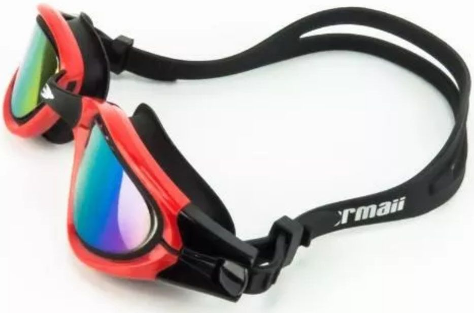 Óculos de Natação Mormaii Atlhon Vermelho e Preto Lente Espelhada Proteção UV