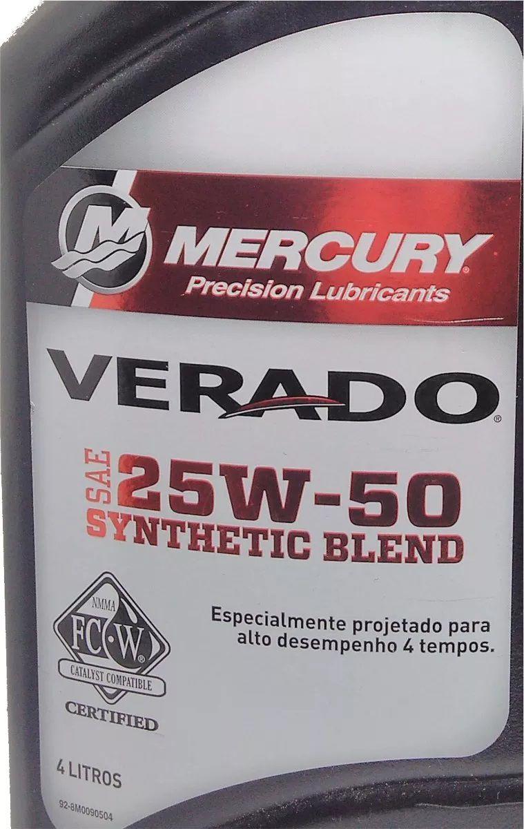 Óleo para Motor de Popa Mercury Verado 4 Tempos SAE 25W-50 Sintético 4 Litros