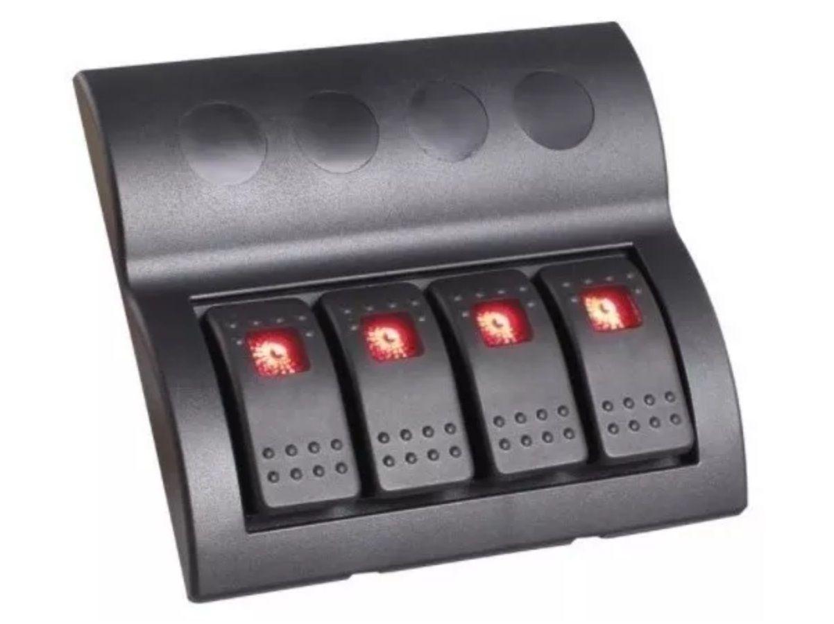 Painel Elétrico Náutico com 4 Botões com LED e Fusíveis 12V / 24V para Barcos e Lanchas
