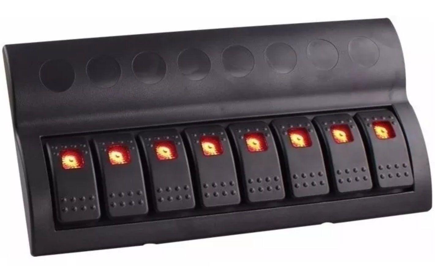 Painel Elétrico Náutico com 8 Botões com LED e Fusíveis 12V / 24V para Barcos e Lanchas