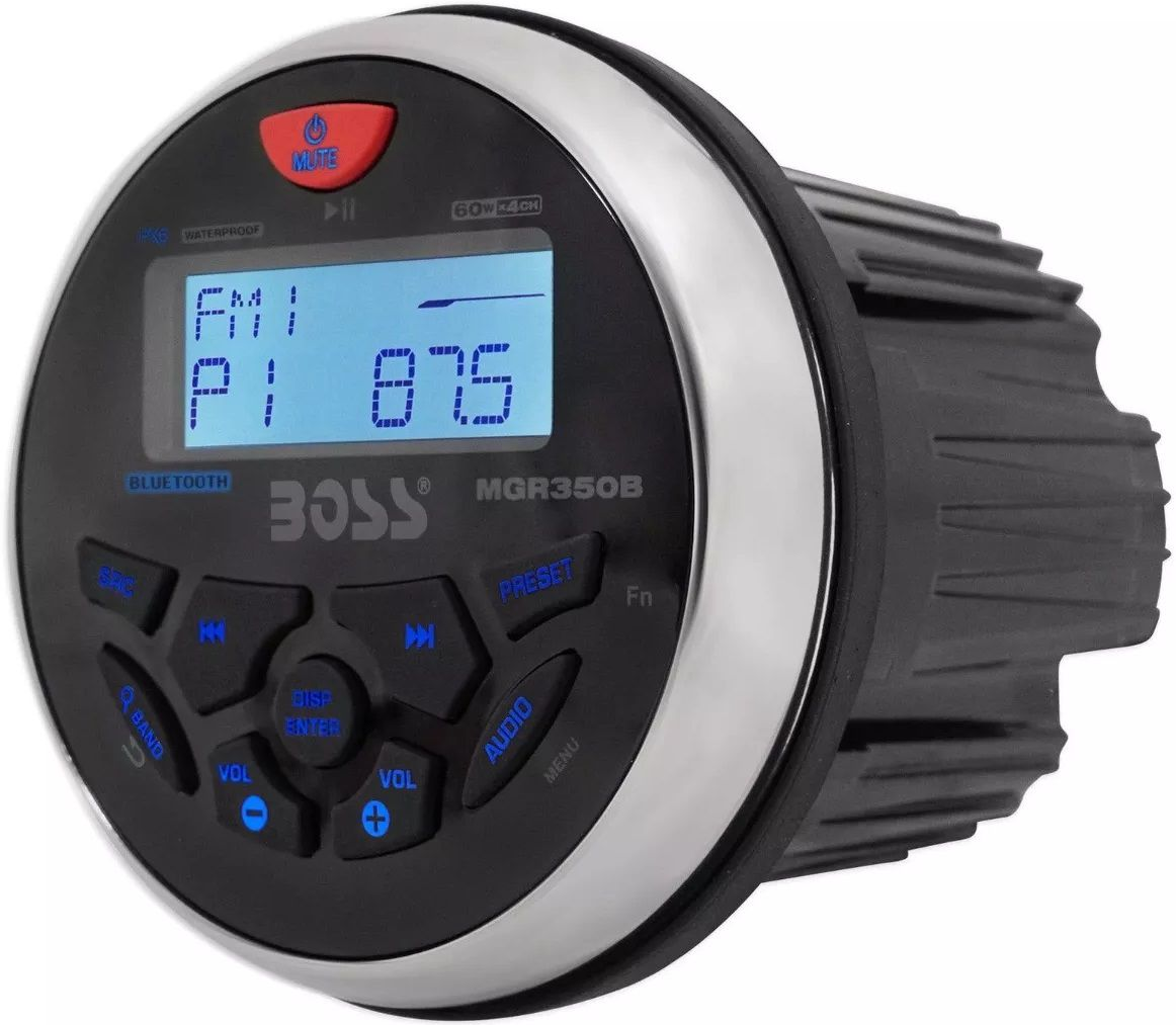 Rádio AM/FM Boss com BLUETOOTH MP3 WMA USB AUX, Marinizado para Barcos e Lanchas MGR350B
