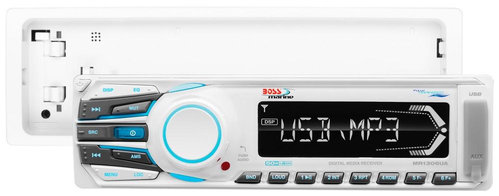 Rádio AM/FM Boss com MP3 WMA USB AUX SD e Controle Remoto, Marinizado MR1306UA