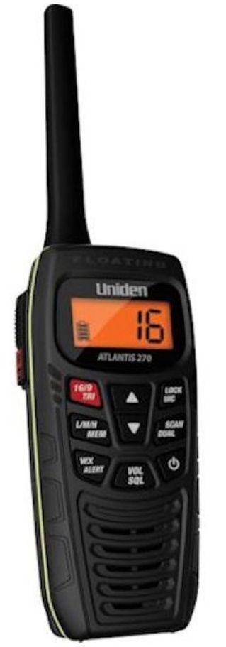 Rádio Portátil VHF Digital Marítimo Uniden Atlantis 270 Preto 6 Watts Flutuante Homologado