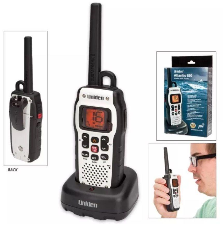 Rádio Portátil VHF Marítimo Uniden Atlantis 150 Branco 2,5 Watts Flutuante Homologado