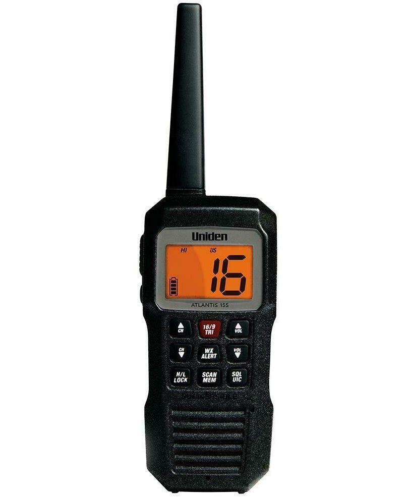 Rádio Portátil VHF Náutico Uniden Atlantis 155 Flutuante 3 Watts