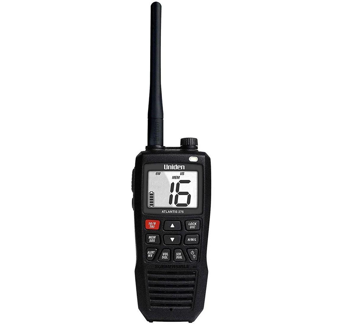 Rádio Portátil VHF Náutico Uniden Atlantis 275 Flutuante 6 Watts