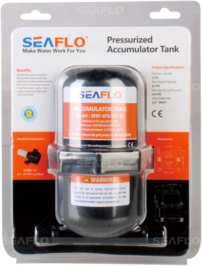 Tanque Acumulador de Água (Cuba de Pressão) Seaflo para Bomba Pressurizadora 0,75 Litro