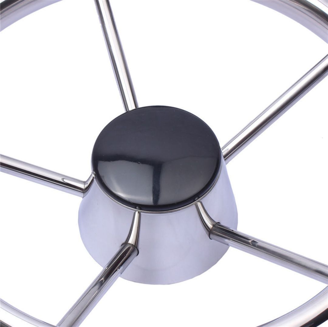 """Volante Náutico em Aço Inox com Acabamento Central em Bakelite Diâmetro 343mm 13-1/2"""""""