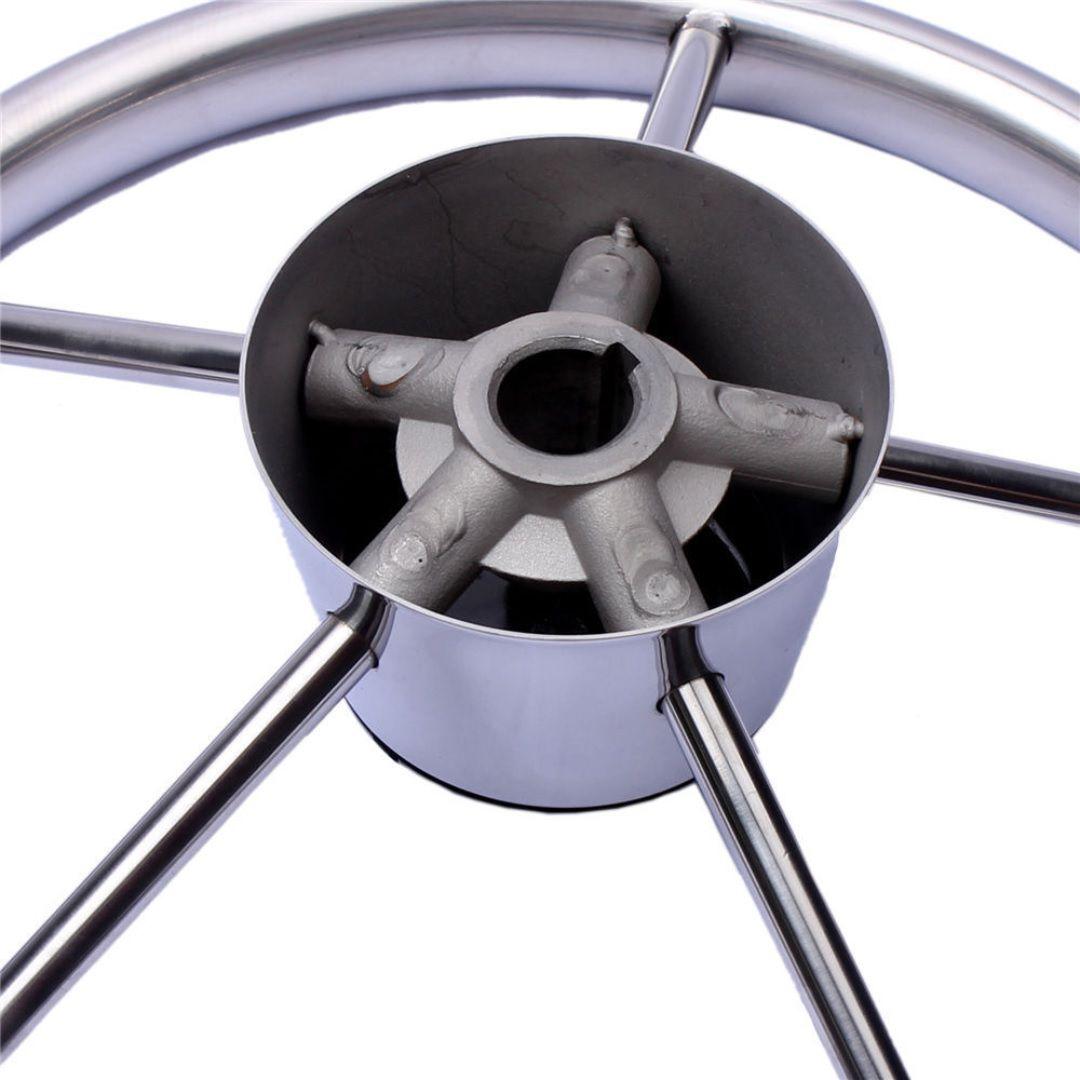 """Volante Náutico em Aço Inox com Acabamento Central em Bakelite Diâmetro 398mm 15-1/2"""""""