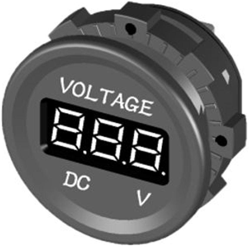 Voltímetro Digital Náutico até 30V DC Marinizado para Barcos e Lanchas de Embutir 12V