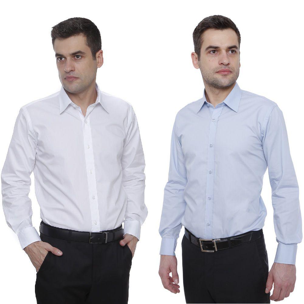 5% OFF Dupla Camisa Slim Branca+Azul