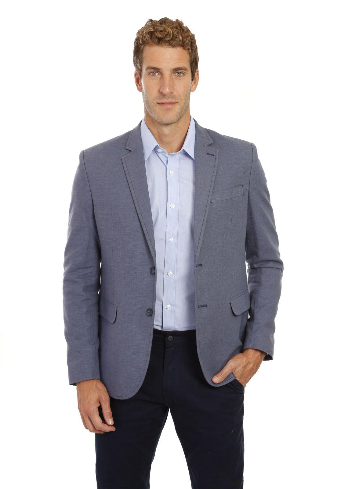 Blazer Hugo Deleon Sarja Linho Azul
