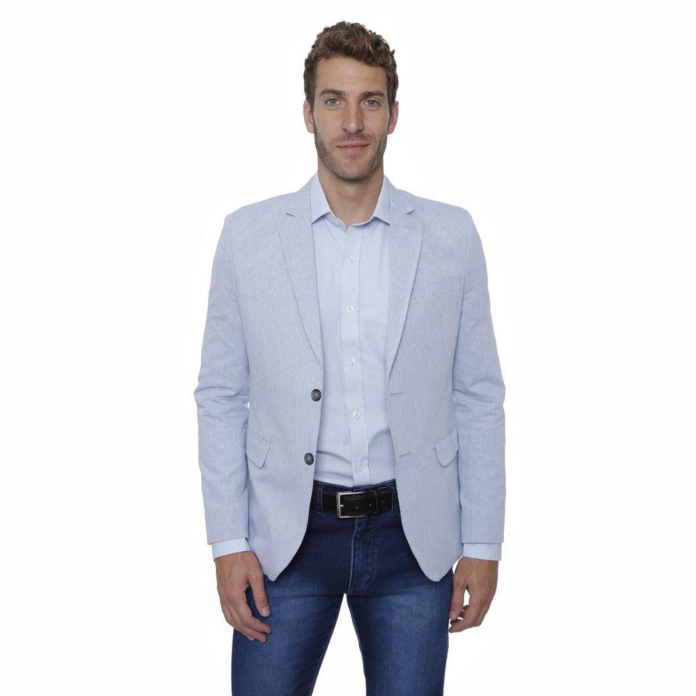 Blazer Hugo Deleon Slim Sarja Linho Azul