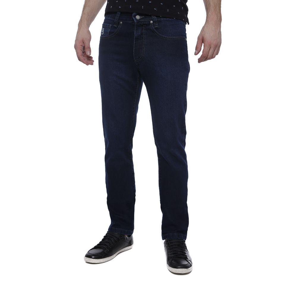 Calça Jeans Hugo Deleon Elastano Lisa Azul Escuro
