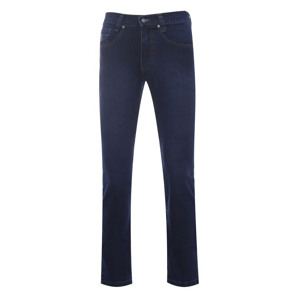 Calça jeans Hugo Deleon elastano azul lisa