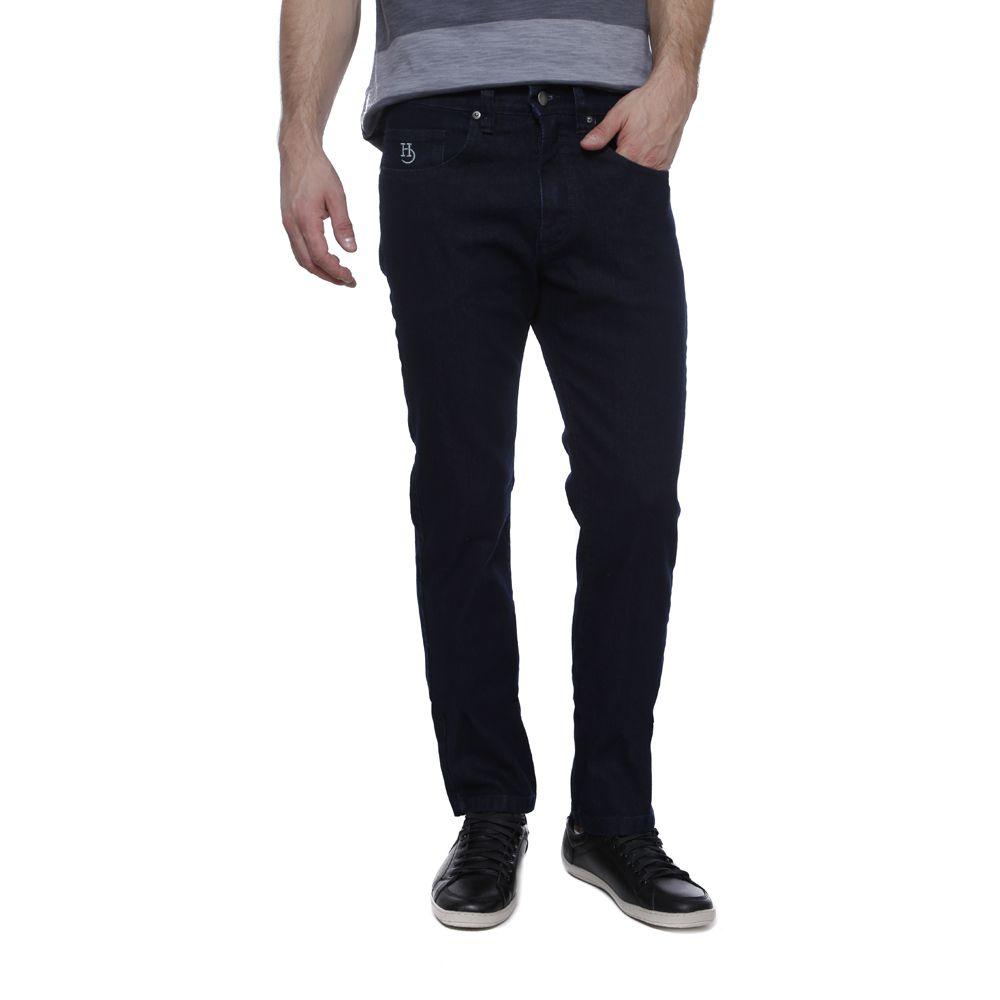 Calça Jeans Hugo Deleon Elastano Liso Marinho