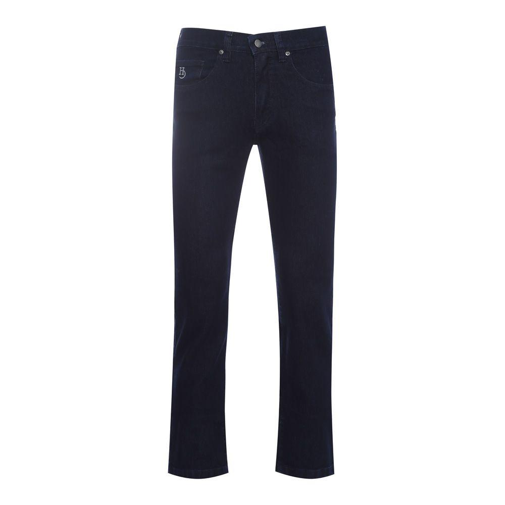 Calça jeans Hugo Deleon elastano azul marinho lisa