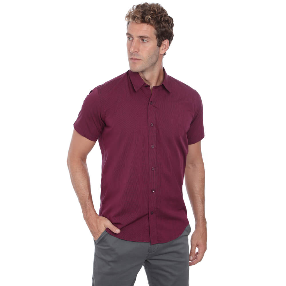 Camisa Hugo Deleon Curta Esporte Vinho