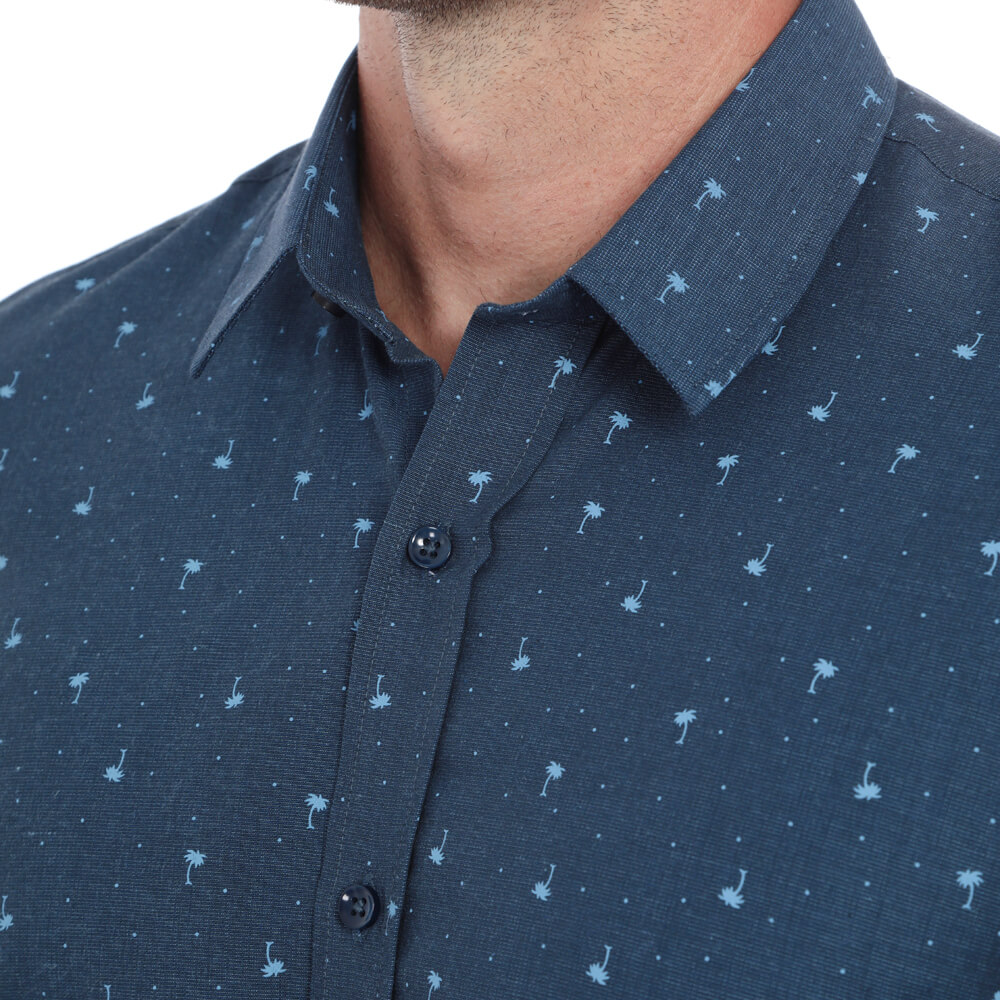 Camisa Hugo Deleon Manga Curta Estampada Azul