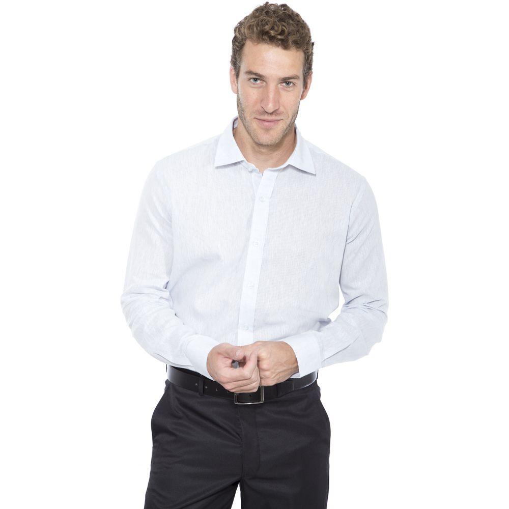 Camisa linho Hugo de Deleon algodão lisa azul claro