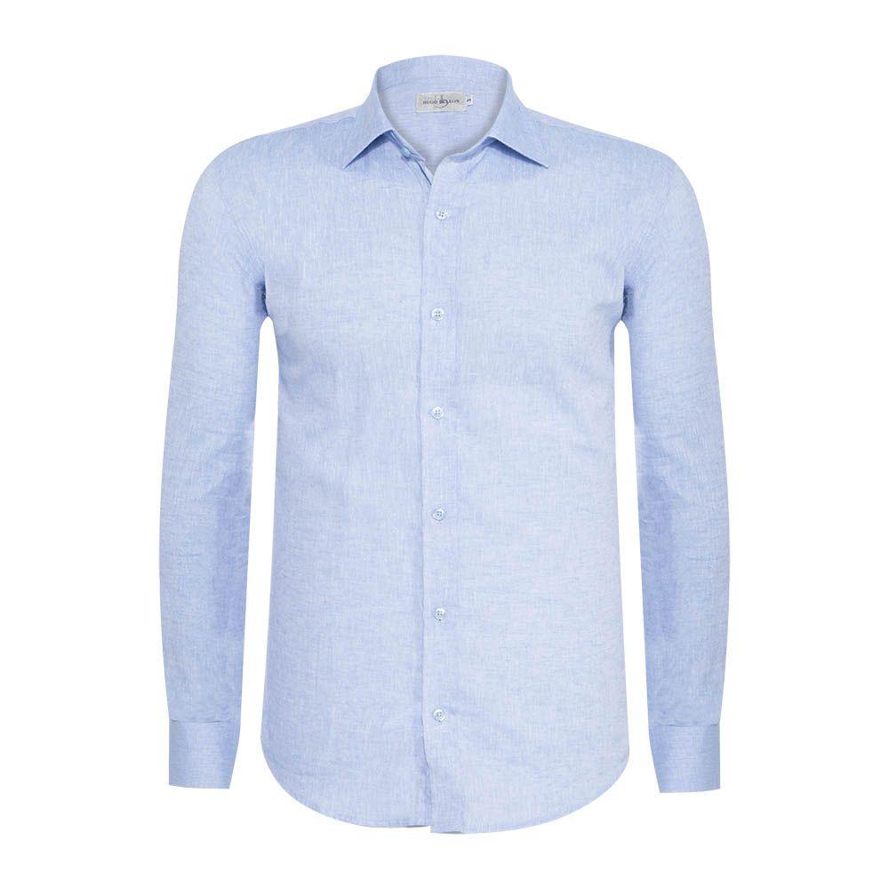 Camisa linho Hugo Deleon algodão lisa azul