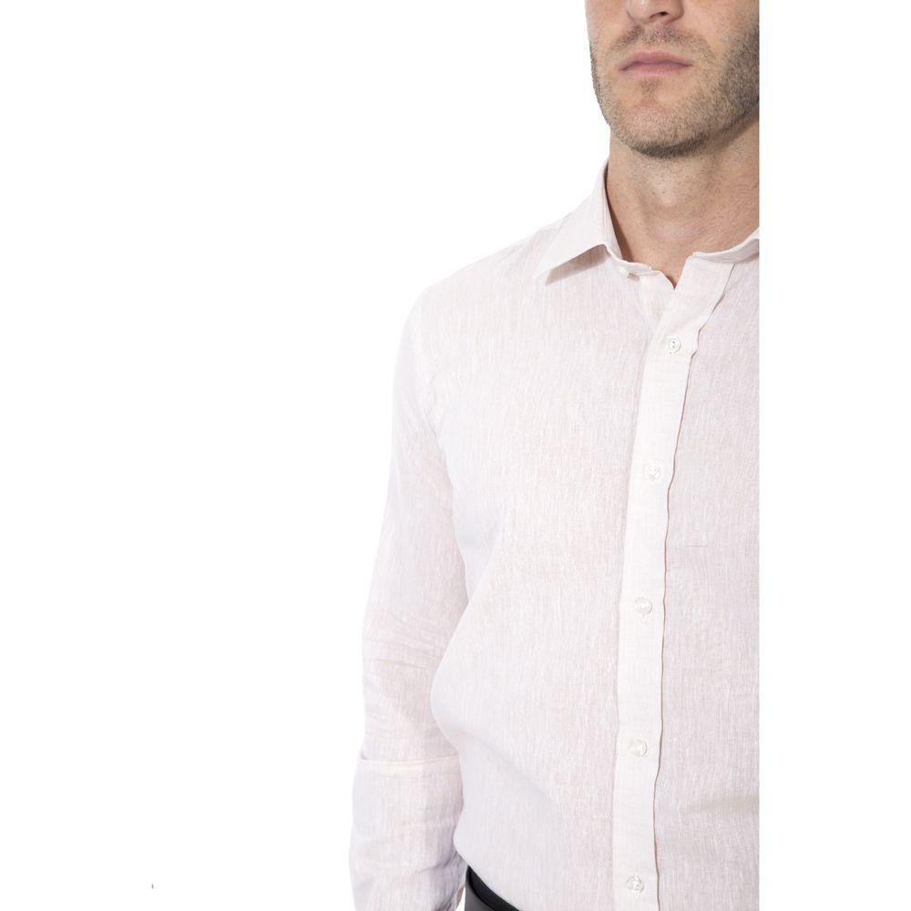 Camisa linho Hugo Deleon algodão lisa bege