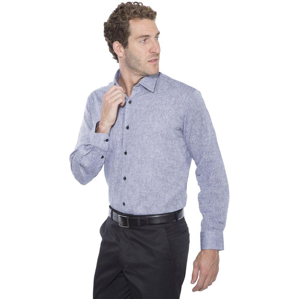 Camisa linho Hugo Deleon algodão lisa grafite