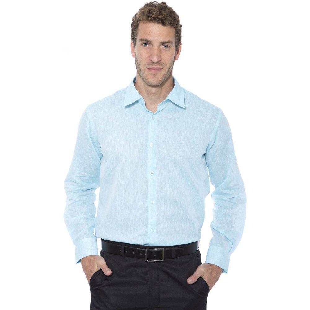 Camisa linho Hugo Deleon algodão lisa verde claro