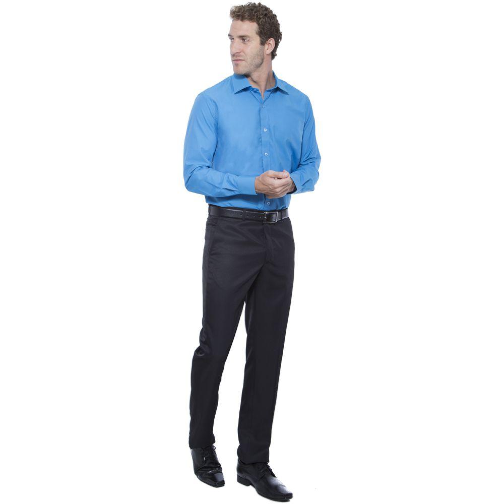 Camisa Passa Fácil Hugo Deleon Lisa Azul