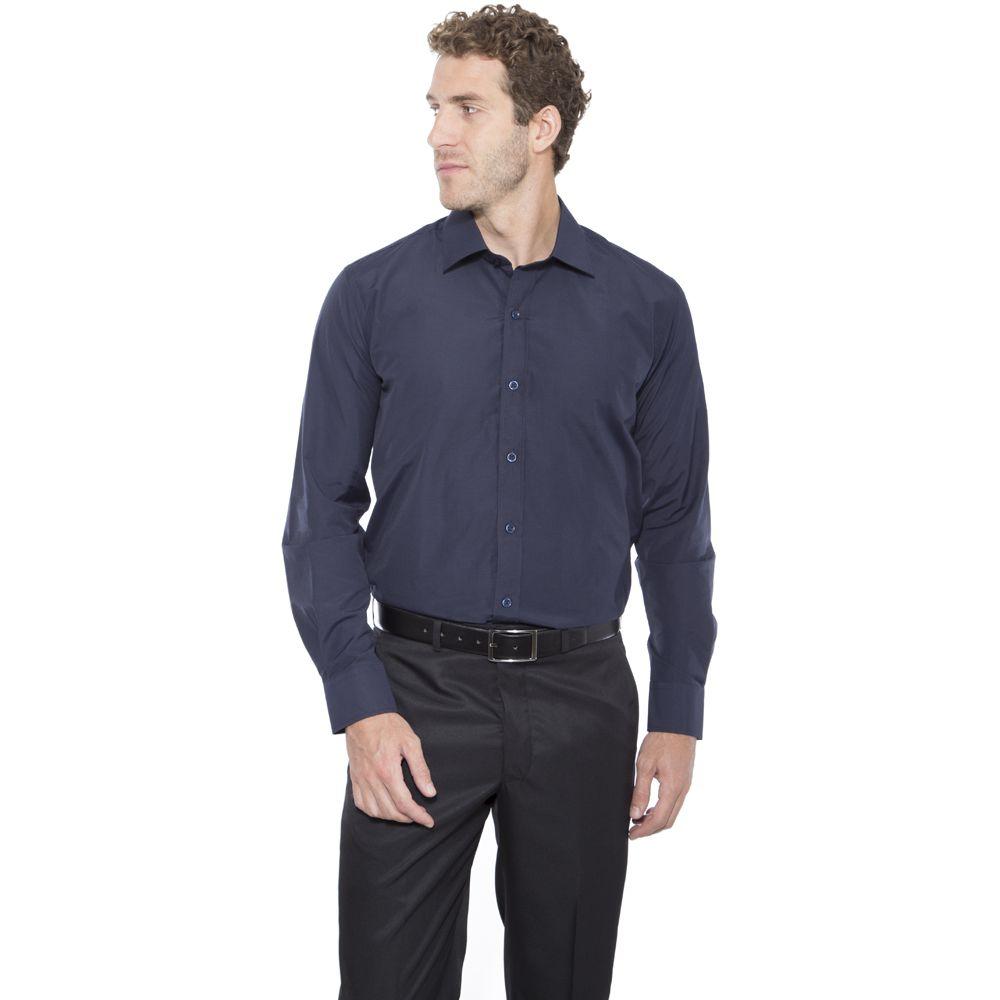 Camisa passa fácil Hugo Deleon lisa azul marinho