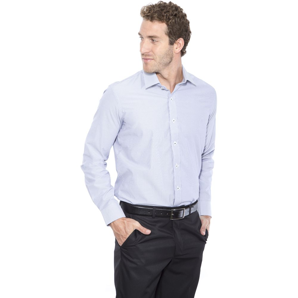 Camisa Pássa Fácil Hugo Deleon Listrada Azul