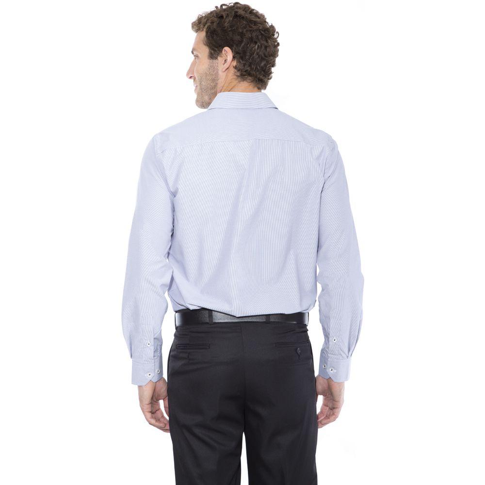 Camisa passa fácil Hugo Deleon listrada azul escuro